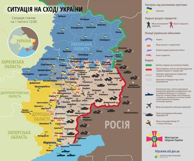 Зона бойових дій. Карта на 1 лютого