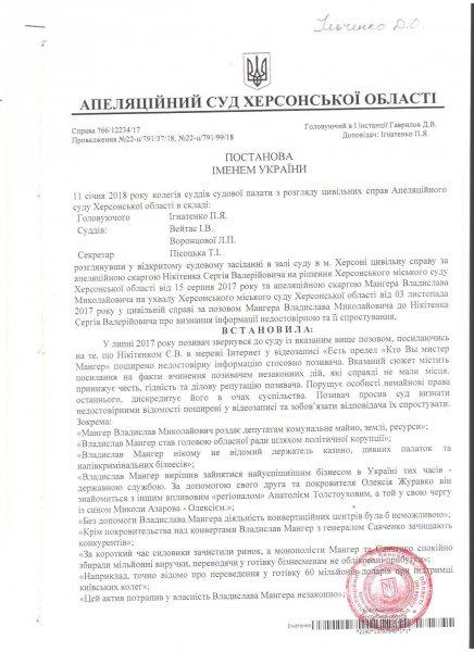 Глава Херсонского облсовета защитил свои честь и достоинство в суде