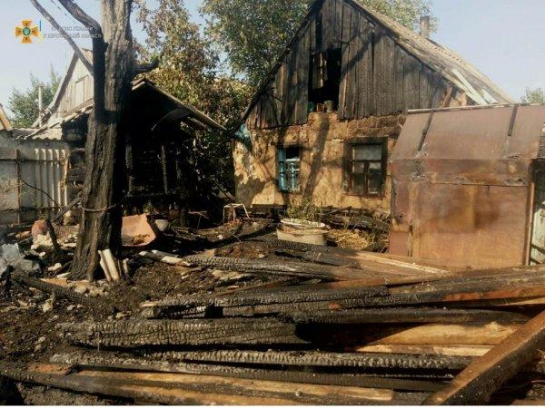 Заросли сухой травы вспыхнули во дворе домовладения на Херсонщине, приведя к масштабному пожару
